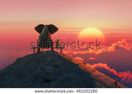 Elephant and dog sit on a mountain top,  3d illustration,