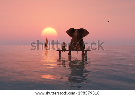 elephant and dog sitting in the middle of the sea - stock photo