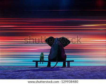 elephant and dog sitting on a roadside - stock photo