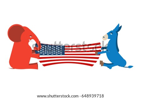 Elephant And Donkey Divide Usa Flag Political Party Of America Republicans Against Democrats