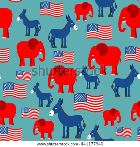 Elephant and Donkey seamless pattern. Texture for election and debate in America. Democrat donkey and Republican elephant and American flag. Political background. patriotic ormanent - stock photo