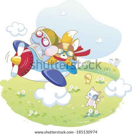 Elephant and fox getting on plane - stock photo