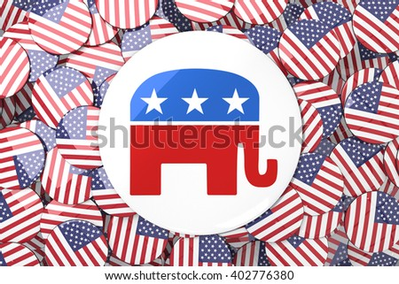 Elephant badge against badges with american flag - stock photo