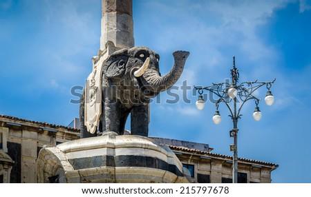 Elephant column statue in Catania, Sicily - stock photo