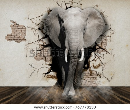 Elephant coming out of the wall. Photo wallpaper for the walls. 3D Rendering.