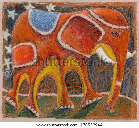 Elephant executed in pastel technique  - stock photo