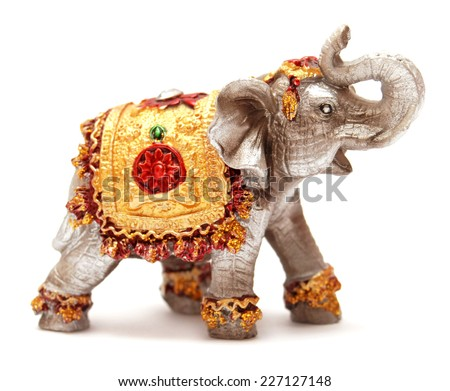 Elephant figurine isolated on white background - stock photo