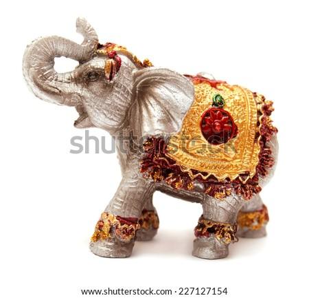 Elephant figurine isolated on white background - stock photo
