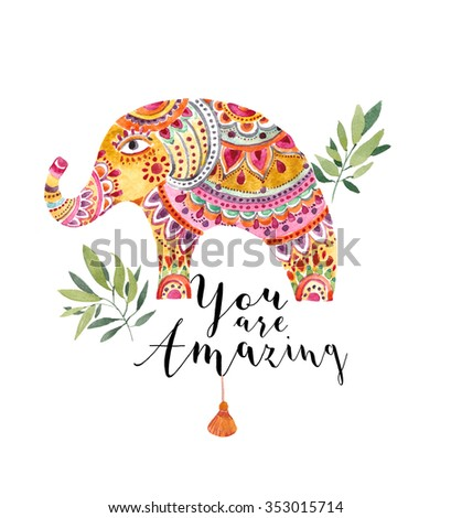 Elephant illustration in Indian style. Can be used as a greeting card. - stock photo