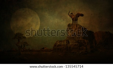 Elephant in moonlight - stock photo