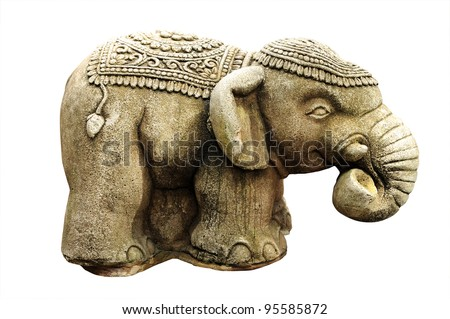 Elephant isolated against white background. Clipping path included. - stock photo