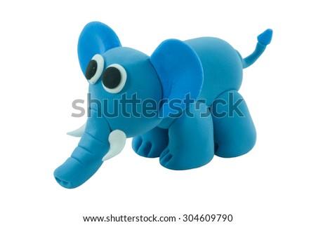 elephant made from plasticine - stock photo