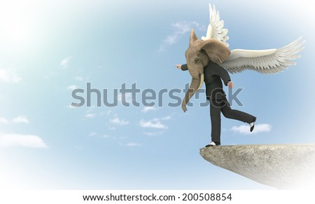 Elephant man head and wings  - stock photo