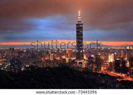 Elephant mountain to see Taipei Night scene - stock photo