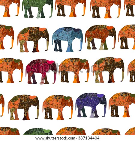 elephant painted by hand is suitable for your projects! seamless background - stock photo