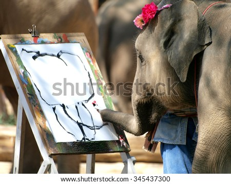 elephant painting , elephant paint elephant - stock photo