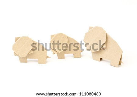 Elephant paper on a white background. - stock photo