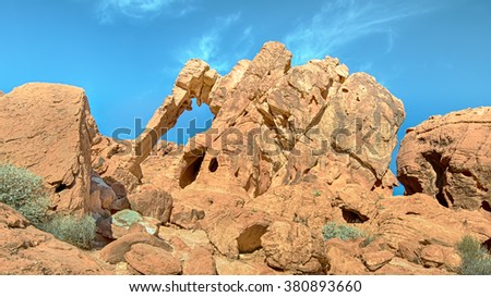 Elephant Rock, the signature formation in the Valley of Fire State Park, near Las Vegas, Nevada. - stock photo