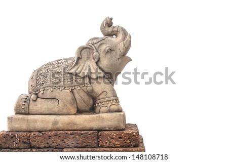 Elephant sculpture isolated on white background - stock photo