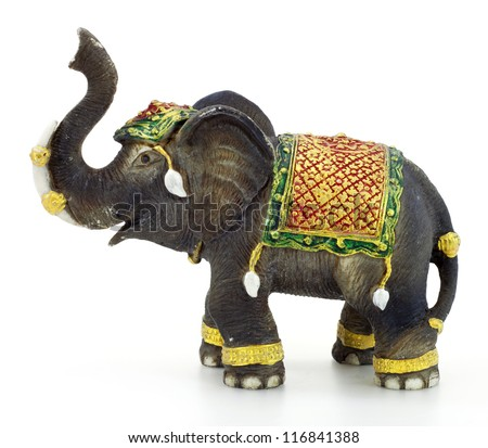 Elephant sculpture with white background - stock photo