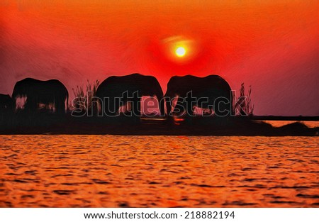 Elephant silhouettes - stock photo