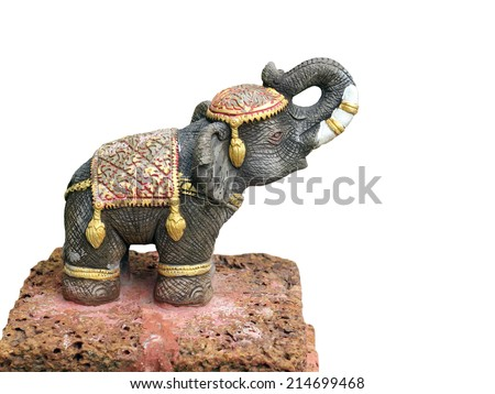 Elephant statue isolated on white background - stock photo