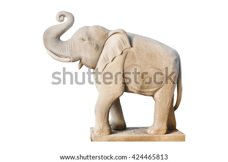 Elephant statue isolated on white background, Clipping path, This is a public in thailand