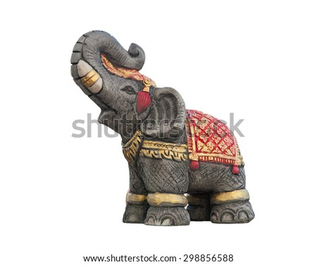 Elephant statue isolated on white background is readily available,In Thailand  - stock photo