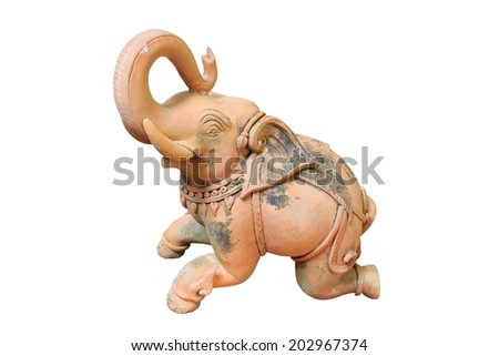 Elephant statue isolated on white background with clipping path. - stock photo