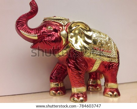 Elephant statue red and gold color Thailand