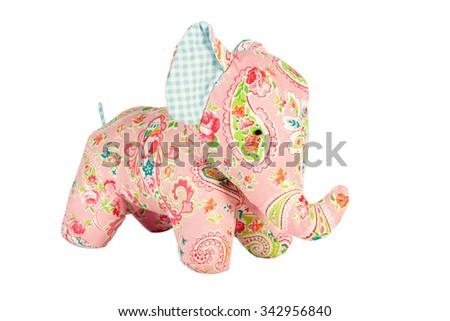 elephant toy isolated on white, Pattern Fabric - stock photo