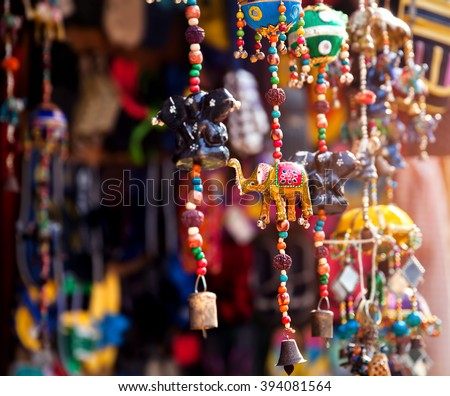 Elephant toys in the shop at Indian market in Goa - stock photo