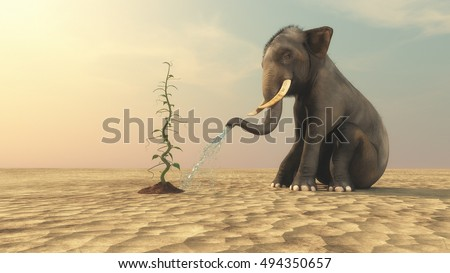 Elephant watering a beanstalk with his trunk on a dry field background. This is a 3d render illustration