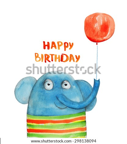 Elephant with balloon. Happy birthday. Watercolor illustration. Hand drawing - stock photo