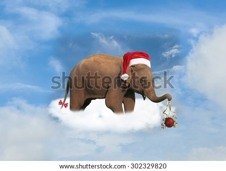 Elephant with Santa's red hat and Christmas gift on the cloud - stock photo