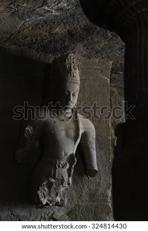 Elephanta cave interior, in Elephanta island near Mumbai, India. This is one of the UNESCO World heritage Site. - stock photo