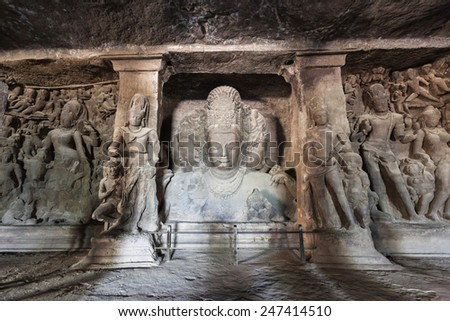 Elephanta Island caves near Mumbai in Maharashtra state, India - stock photo