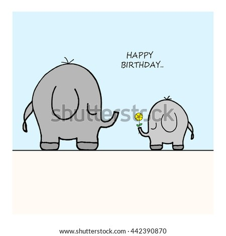 Elephants - Flower - Happy Birthday - stock photo