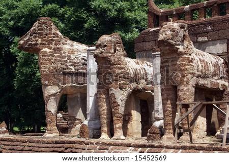 Elephants in wat Chang Lom. Si Satchanalai, Thailand - stock photo