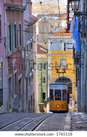 Elevador da Bica, Lisbon, Portugal - stock photo