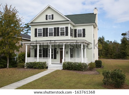 Elevated and angled view of suburban house. - stock photo