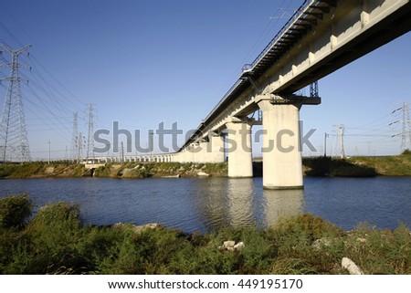 Elevated bridge concrete structure - stock photo