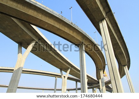 Elevated express way against blue sky background