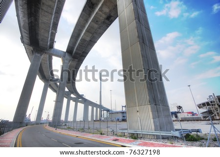 elevated express way at day time - stock photo