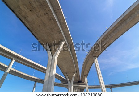 Elevated expressway,The curve of bridge, bangkok, thailand