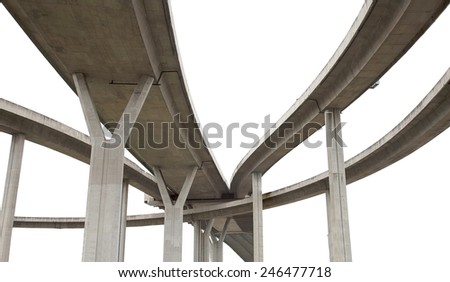 Elevated expressway. The curve of suspension bridge Large elevated traffic highway in Bangkok, Thailand. isolated on white background with clipping path.