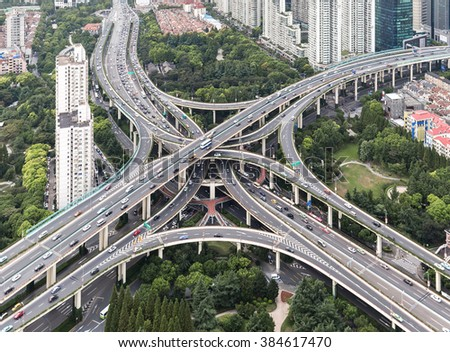 Elevated highway and overpass in modern city