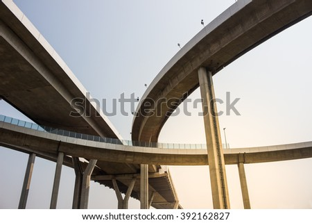 Elevated large expressway overhead