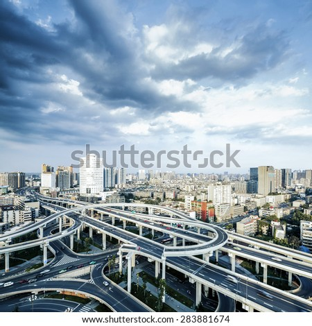 Elevated overpass and skyline - stock photo