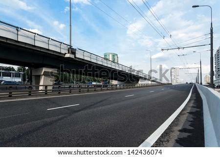 Elevated roads in Moscow, Russia - stock photo